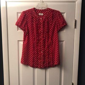 Ann Taylor Loft red & white polka dot blouse